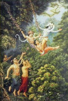 Krishna Enjoys Forest Past Times (Reprint on Paper - Unframed) Hare Krishna Temple, Arte Krishna, Krishna Lila, Lord Krishna Images, Radha Krishna Pictures, Krishna Photos, Krishna Radha, Durga, Sri Lanka
