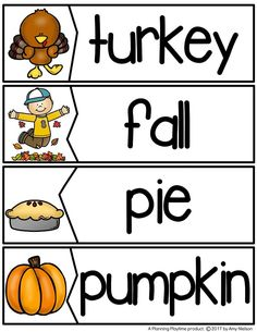 Fall Word Puzzles for a November Word Wall. Thanksgiving Worksheets, Thanksgiving Words, Thanksgiving Crafts For Kids, Kindergarten Thanksgiving, Thanksgiving Appetizers, Thanksgiving Outfit, Thanksgiving Decorations, Thanksgiving Recipes, Preschool Word Walls