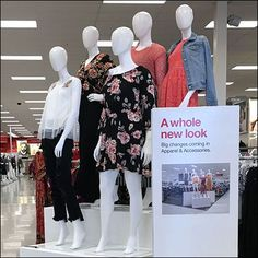 Look close to see the A Whole New Look Visual Echo … the Whole New Look Sign repeats the Whole New Look Display. Did you get the message? Is the message best repeated at the display site, or in advance or elsewhere in the store? Store Signage, New Look, Target, Retail, Construction, Display, Signs, Building, Floor Space