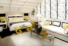 black, white and yellow bedroom