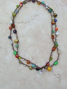 Hippie crochet necklace, beaded wrap bracelet, Bohemian jewelry, colorful.