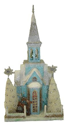 "Cody Foster Reproduction 80  WINTER BLUE CHURCH  Paper Pulp 18x10x9"" is it wrong for a 42yr old woman to admit to a secret love of glittery things?"