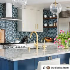 I had so much fun designing this kitchen with yuliatanis and it could not have turned out better. The riadtile backsplash just added such a spark of playfulness! Everything just sort of came together. Thank you macchiaphoto for capturing it perfectly. Kitchen Countertops, Kitchen Backsplash, Kitchen Cabinets, Blue Backsplash, Gray Cabinets, Home Design, Smart Design, Blue Country Kitchen, Country Kitchens