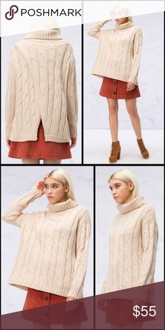 Beautiful and warm in blush! Vent back sweater! Turtleneck cable knit cozy and chic sweater in beautiful blush- with vent back detail❤️️ Sweaters