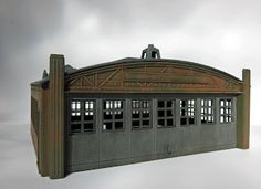 """The Dale Wardens Airplane Hangar from Plasticville. """"O"""" scale. Quonset Homes, Faux Brick Walls, Shop Layout, Model Train Layouts, Scenic Design, Types Of Houses, Airplane, Gazebo, New Homes"""