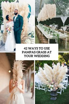 42 ways to use pampas grass at your wedding cover - Weddingomania Lilac Wedding, Boho Wedding, Floral Wedding, Wedding Colors, Wedding Bouquets, Wedding Trends, Boho Bride, Wedding Ideas, Grass Centerpiece