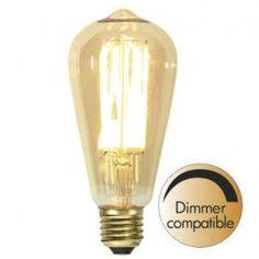 Decoration LED Lanterne Vintage Gold E27 1800K 240lm Dimbar Light Bulb, Lighting, Vintage, Design, Gold, Home Decor, Products, Lantern, Dekoration