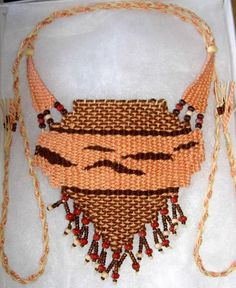 """Peach/Brown Abstract"" - 2013 - Adjustable Length, AVAILABLE.  Woven by Terri Scache Harris, theravenscache.shutterfly.com   Hand woven, handwoven, weaving, weave, needleweaving, pin weaving, woven necklace, fashion necklace, wearable art,fiber art."