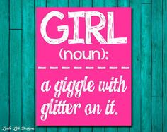Girl Wall Art - Girl Room Decor - GIRL: a giggle with glitter on it. Wall Art and Home | http://coolbathroomdecorideas795.blogspot.com