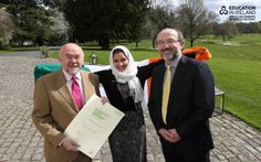 Minister Quinn, the President of DCU and Enaam Al Hashimi (DCU student) at the Education in Ireland Student Ambassador ceremony at Farmleigh 2014