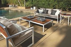 Room & Board - Montego Outdoor Sofas with Cushions - Modern Outdoor Sofas & Sectionals - Modern Outdoor Furniture Modern Outdoor Furniture, Deck Furniture, Steel Furniture, Outdoor Rooms, Custom Furniture, Furniture Design, Outdoor Decor, Cheap Furniture, Furniture Ideas