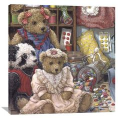 """Global Gallery 'Buttons N' Bears' by Janet Kruskamp Painting Print on Wrapped Canvas Size: 40"""" H x 40"""" W x 1.5"""" D"""