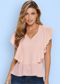 Flutter Short Sleeve Blouse from VENUS women's swimwear and sexy clothing. Order Flutter Short Sleeve Blouse for women from the online catalog or Look Fashion, Womens Fashion, Fashion Design, Blouse And Skirt, Corsage, Short Sleeve Blouse, Blouse Designs, Pretty Outfits, Casual Wear