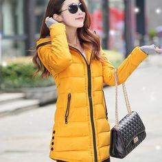 Women Winter Hooded Warm Coat Slim Plus Size Candy Color Cotton Padded Basic Medium-Long Jacket