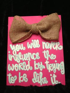 Burlap Bow with Quote Canvas