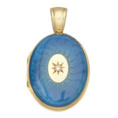 Charles Green Gold and Enamel Locket Pendant | From a unique collection of vintage necklace enhancers at https://www.1stdibs.com/jewelry/necklaces/necklace-enhancers/