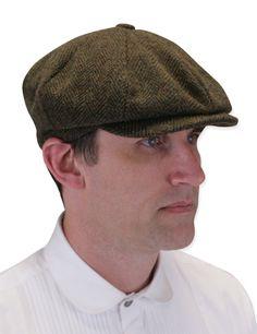 Victorian Mens Brown Wool Blend Cap | Dickens | Downton Abbey | Edwardian…