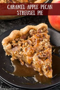 This caramel apple pecan streusel pie tastes as good as it looks! With just one bite, you will know it definitely worth the effort. You will so satisfied with this pie. I mean, who doesn't love caramel, apple, and pecan? This pie is loaded with apples, topped with a crunchy peach streusel, and drizzled with homemade caramel sauce. It's too good to stop at one slice! Pecan Desserts, Dessert Cake Recipes, Pie Dessert, Fall Desserts, Chocolate Desert Recipes, Chocolate Deserts, Caramel Pecan, Caramel Apples, Apple Pecan Pie