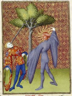 Christine de Pizan, Book of the Queen. Detail of a miniature of Apollo killing Ganymede by piercing his eye, from 'L'Épître Othéa', Harley MS 4431, f. 119v
