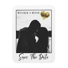#Brushed Script Classic Photo Frame Save the Date Magnet - #wedding gifts #marriage love couples