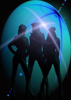 silhouette girl movement jump dance light agility