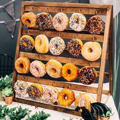 Wedding Catering Trend: 34 Donut Walls Donuts are loved by everyone! They are delicious and budget-savvy, so you should definitely serve them at your wedding! Create a donut bar … Donut Bar, Wedding Donuts, Wedding Desserts, Wedding Appetizers, Cheap Wedding Venues, Wedding Catering, Wedding Programs, Donut Decorations, Wedding Decorations