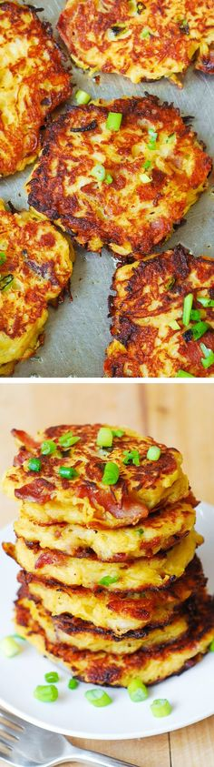 Bacon, Spaghetti Squash, and Parmesan Fritters. CLICK FOR RECIPE  #FOOD #DELICIOUS #RECIPE