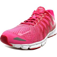 361 Women's Nocti-Lite Pink Running Sneakers 9 M. A neutral lightweight responsive running shoe featuring a 3-d printed seamless upper for a glove-like supportive fit features toe and heel reflective zones for night running. Upper: Breathable ventilated open mesh for comfort and fit. Midsole: Single density EVA providing a lightweight well-cushioned ride. Outsole: multi-segmented outsole for lightweight, flexibility combined withdurability. High abrasion rubber placed in high-wear areas.