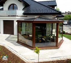 3d House Plans, Enclosed Patio, Garden Deco, Backyard Sheds, House Elevation, Outdoor Living, Outdoor Decor, Small House Design, Glass House
