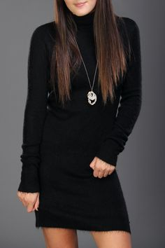 1ae9f5d1225 Black turtleneck sweater dress. Style it with over the knee boots. Black  Turtleneck