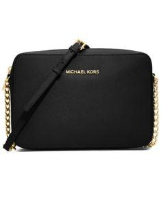 4ec5dd2ad24674 Michael Michael Kors Jet Set East West Crossgrain Leather Crossbody - Black  Large Crossbody Bags,