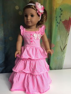 A personal favorite from my Etsy shop https://www.etsy.com/listing/474462003/american-girl-pink-stripe-ruffle-maxi