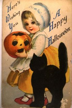 circa 1910 Clapsaddle GIRL HOLDING PUMPKIN Halloween Postcard