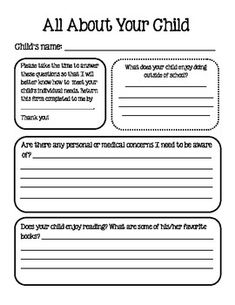 I send this questionnaire home with parents in my students' Open House packet and give them about a week to return it to me. I found that it taught. Back To School Night, 1st Day Of School, Beginning Of School, School Fun, School Stuff, School Ideas, 5th Grade Classroom, Kindergarten Classroom, School Classroom