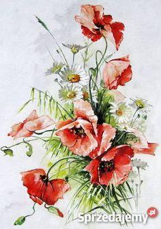 Kwiaty polne MAKI Obraz olejny ręcznie malowany Sosnowiec