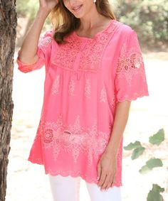 Coral Lace Tunic by Ananda's Collection #zulily #zulilyfinds