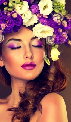 Beauty Fashion Make Up, High Fashion Makeup, Flower Headdress, Floral Headpiece, Girls With Flowers, Flowers In Hair, Splash Photography, Portrait Photography, Beauty Shots