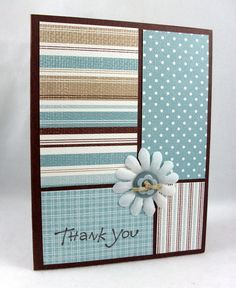 handmade card ... design divides card into four rectangles of varying dimensions ... each section a different patterned paper from the same color set .... blue, kraft, cream ... like how the stripes really emphasize the different papers ... simple and sweet!! ... Stampin' Up!