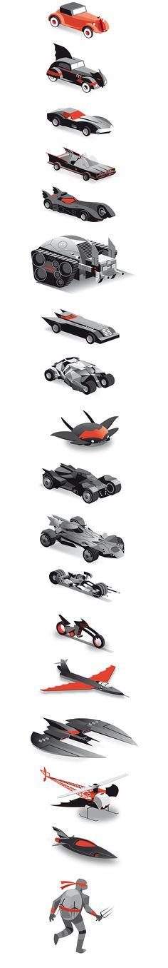Batman 75 years of vehicles by Dan Mora / Batman :: DC Comics :: Batmobile :: Batplane :: vehicles :: Batcopter :: Batboat :: Batcycle :: fandoms Im Batman, Batman Art, Superman, Batman Poster, Batman Stuff, Arte Dc Comics, Bd Comics, Comic Books Art, Comic Art