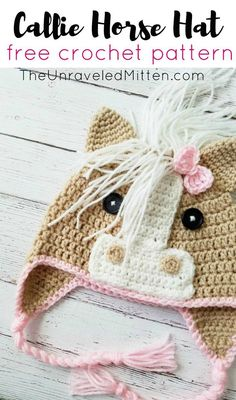 The Callie Horse Hat | Free Crochet Pattern | The Unraveled Mitten | Toddler Preschooler Size | Your Kids will love this fun hat with stick up ears and even a mane. | Perfect for back-to-school, Halloween and even pretend play.