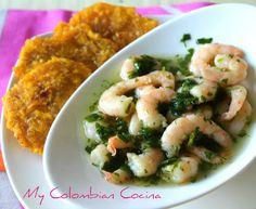 Camarones al Ajo- Ajillo or Garlic Prawns Columbian Recipes, Seafood Recipes, Cooking Recipes, Garlic Prawns, Colombian Food, Island Food, Appetisers, Fish And Seafood, Potato Salad