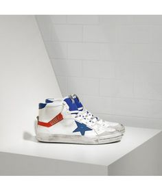 Golden Goose 2.12 Sneakers In White Leather With Blue Leather Star Mens