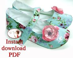 Sewing Pattern Women Slippers Mary Jane Shoes pdf diy printable picture tutorial sewing instructions