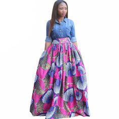 4e206c05324ed 2016 new women Africa Clothing elegant long skirt Classic batik printing  cotton Plus Size