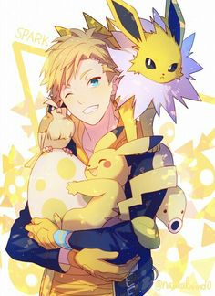 ♥ Boy... Smile... Blue Eyes... Pikachu... Egg... Spark... Pokémon... Pokémon GO!... Anime ♥