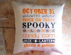 Halloween Pillow, Spooky, Fall, Subway Art, Trick or Treat