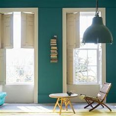 VARDO - real teal blue 10 Beautiful Rooms: new Farrow & Ball Colours – Mad About The House Farrow Ball, Farrow And Ball Paint, Living Room Green, Living Room Paint, My Living Room, Inchyra Blue, Purbeck Stone, Mad About The House, Interior And Exterior