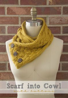 Turn a Scarf into a Cowl...with Buttons.  A whole new look for cooler weather! --- www.makeit-loveit.com