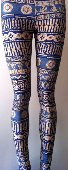 Soul Trend Womens Leggings/Tights/Printed Nylon Spandex Stretch Fabric/ Blue White Brown Tribal Print Sizes 8, 10, 12, 14, 16 New on Etsy, $45.11