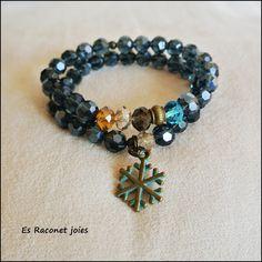 Conjunto copo de nieve azul/  Blue snowflake bracelets.